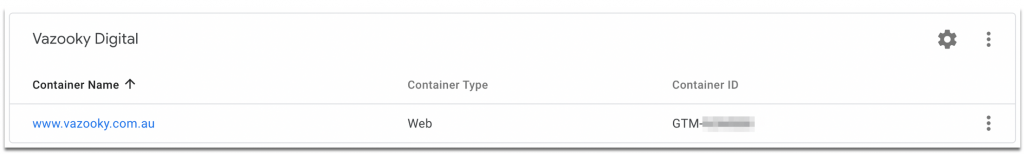 Containers in Google Tag Manager.