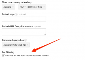 Screenshot how to exclude bots and spiders from Google Analytics.