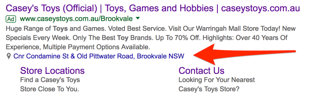 Screenshot of location extension within Google.
