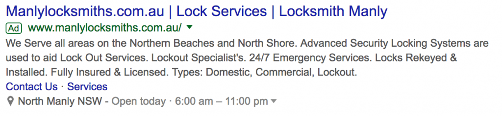 Screenshot of local Sydney business on Google Ads.
