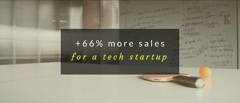 Case study header for increasing sales for a tech startup.