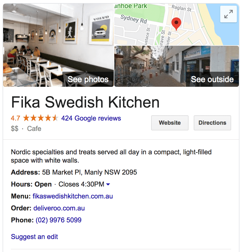 Screenshot of a Google My Business listing on Google Search.