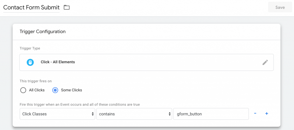 Screenshot how to set up form tracking in GTM step 4