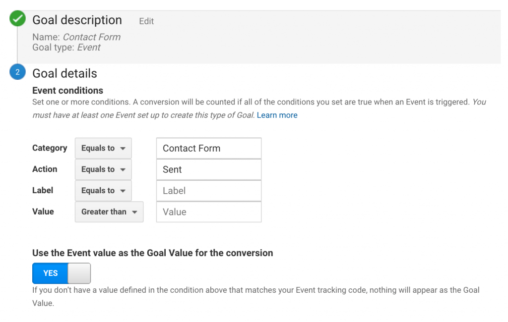 Screenshot how to set up form tracking in Google Analytics step 2