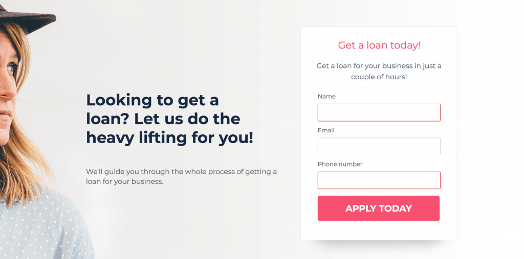 Screenshot of header section of landing page template.
