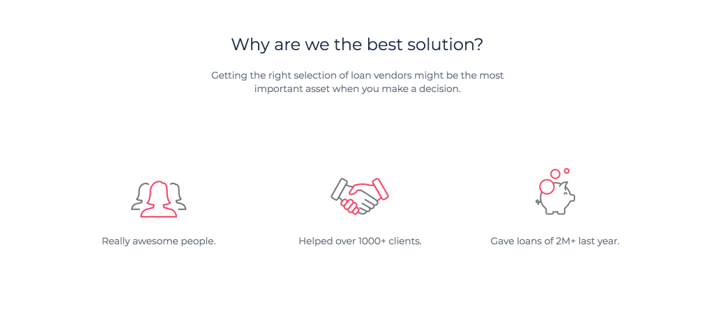 Screenshot of usp section of landing page template.