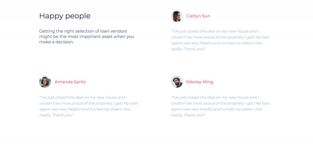 Screenshot of testimonial section of landing page template.