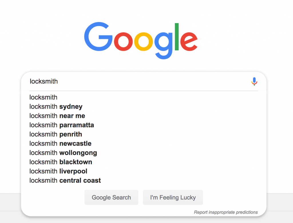 Screenshot of Google search suggestions box in search engine.