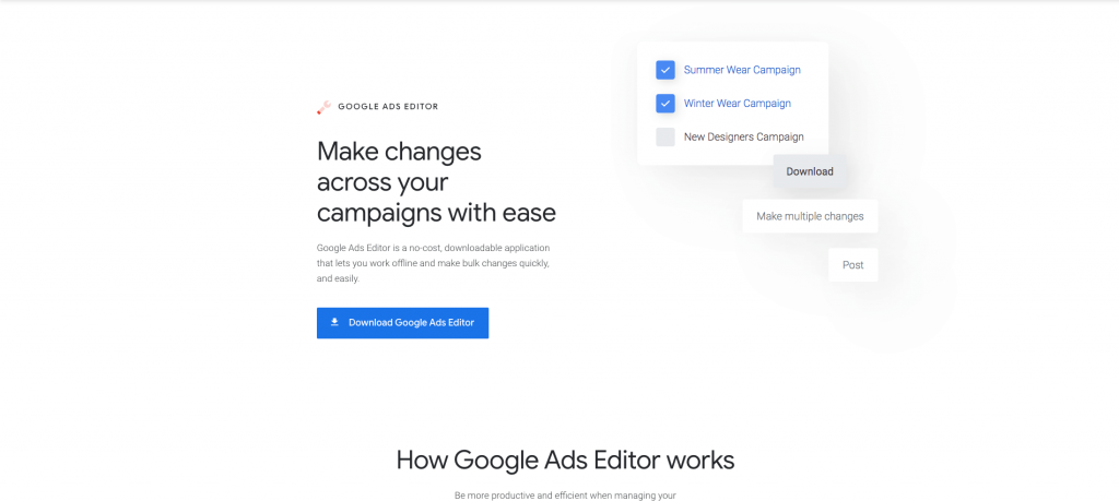 Screenshot of the Google Ads Editor.