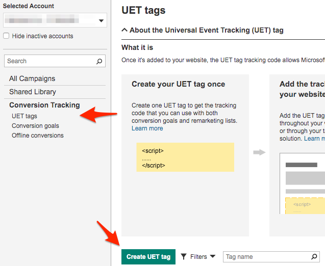 Screenshot for setting up Microsoft Ads tracking using GTM step 01
