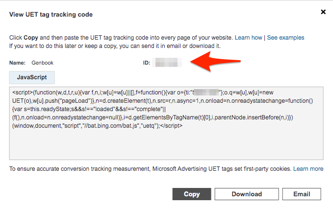 Screenshot for setting up Microsoft Ads tracking using GTM step 02