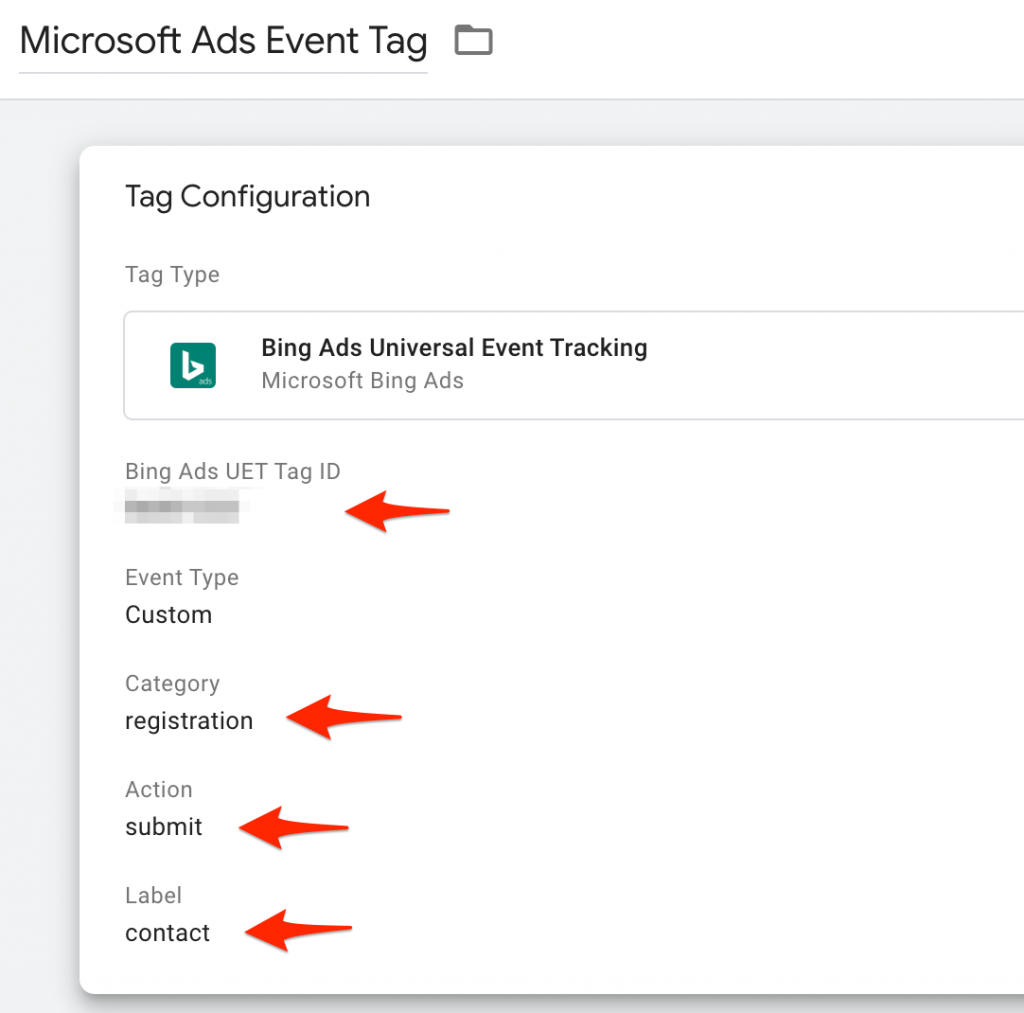 Screenshot for setting up Microsoft Ads tracking using GTM step 06