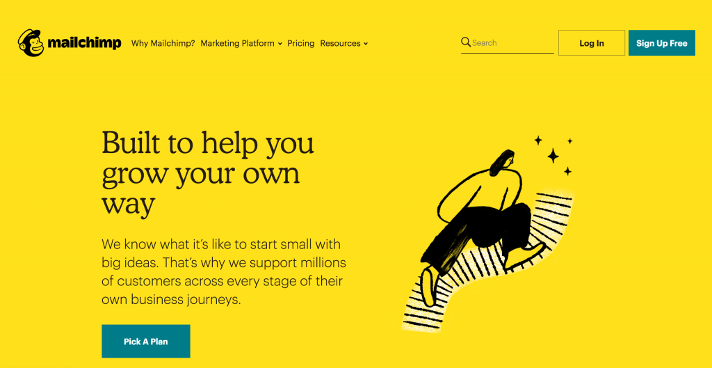 Screenshot of MailChimp website.