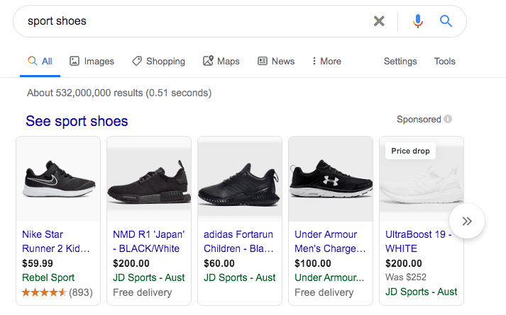 Screenshot of shopping ads on Google.