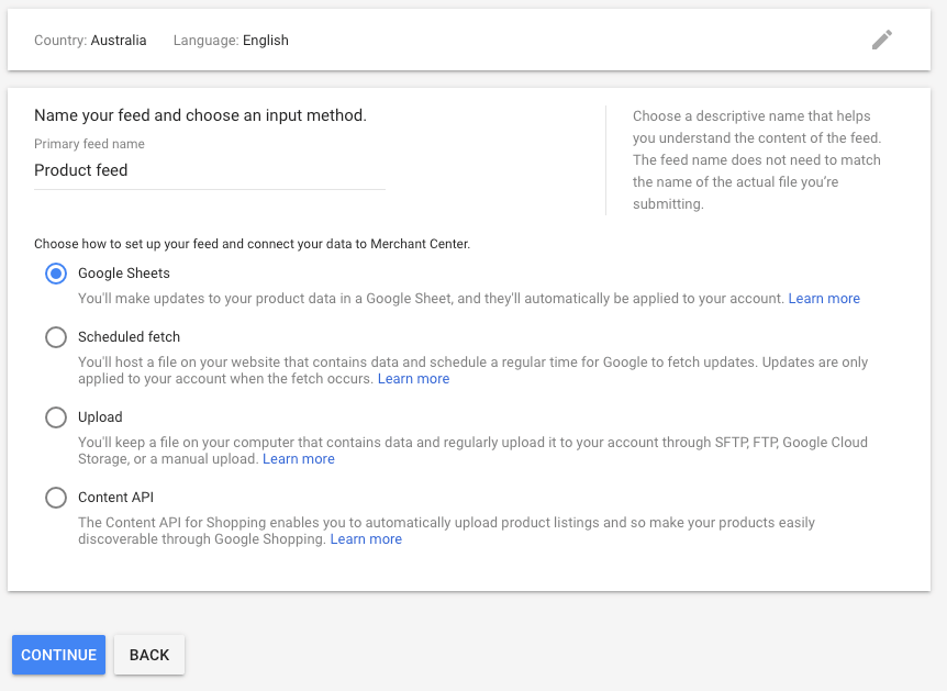 Uploading a product feed to the Google Merchant Center.