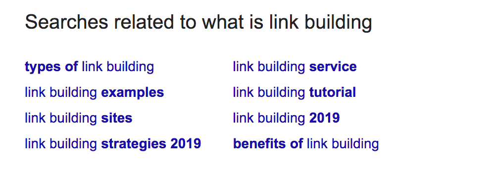 Screenshot of link building query in Google.