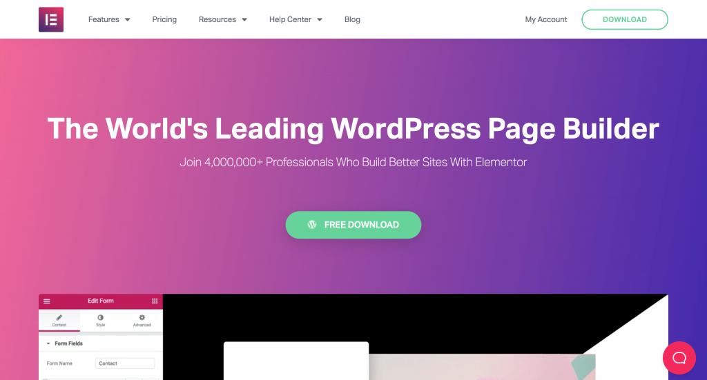 Screenshot of Elementor for WordPress website.
