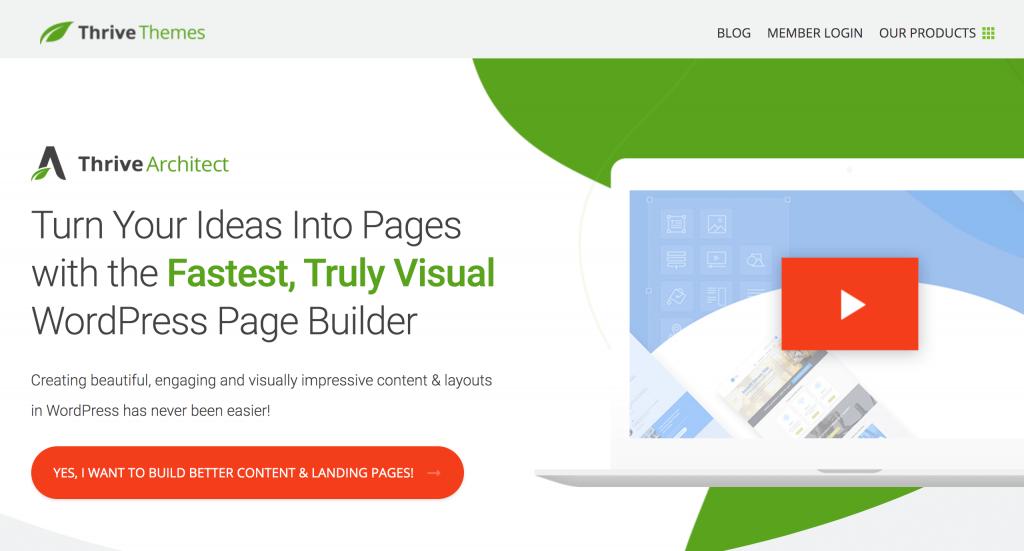 Screenshot of Thrive website builder website.